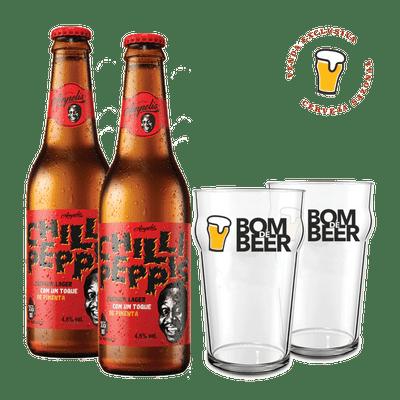 Kit-Cerveja-Ampolis-Chilli-Peppis-335ml---Copo-Bom-de-Beer